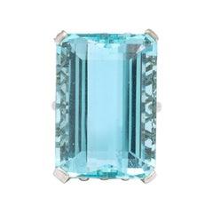 Large 31 Carat Aquamarine Diamond Platinum Ring