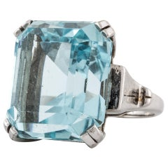 Large Aquamarine Ring in White Gold