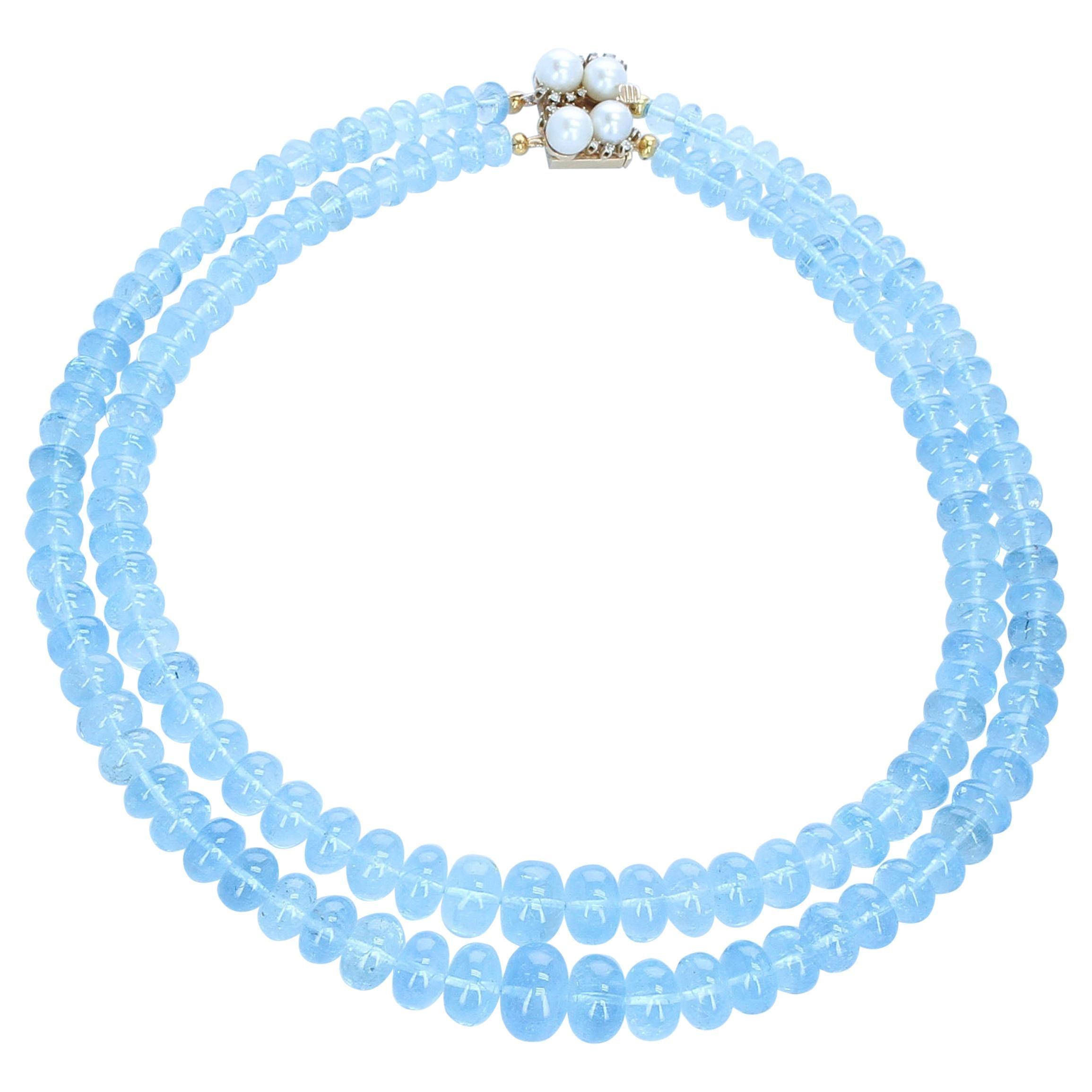 Large Aquamarine Smooth Beads with Pearl Clasp, 14 Karat