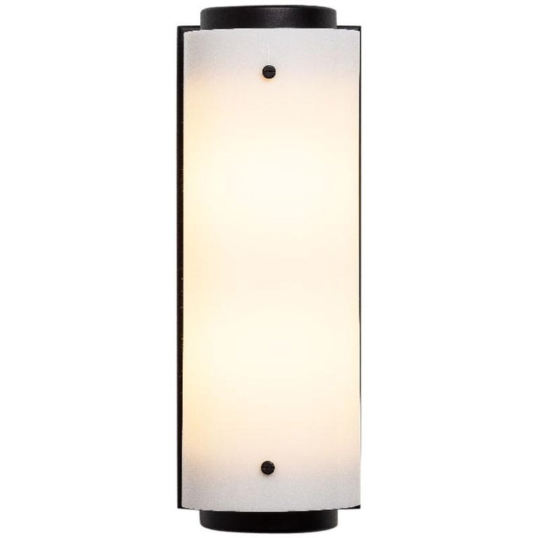 Contemporary Large Arc Sconce in Black with White Lucite Shade For Sale