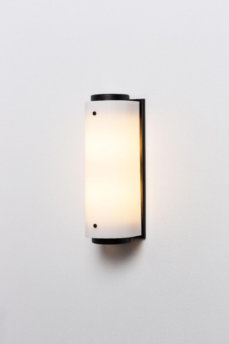Brass Large Arc Sconce in Black with White Lucite Shade For Sale