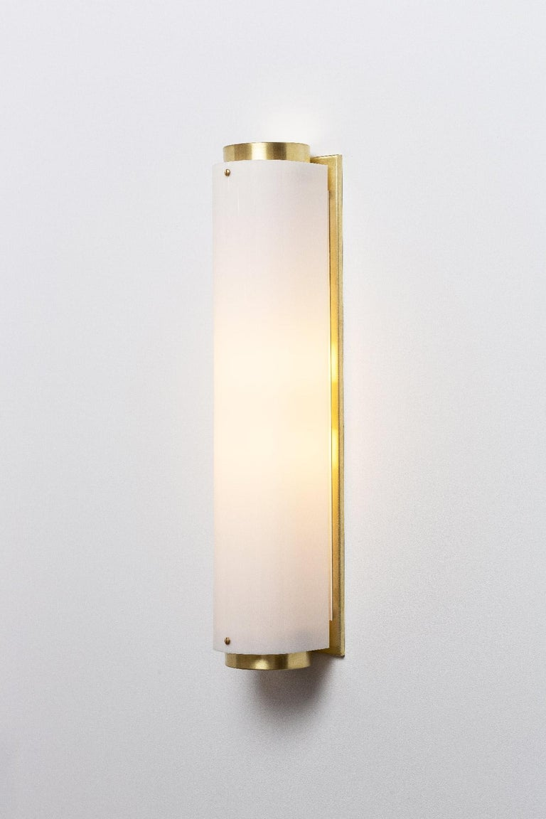 Modern Large Arc Sconce in Brass with White Lucite Shade For Sale