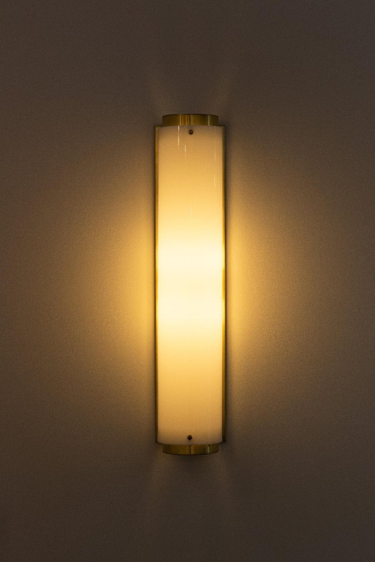 American Large Arc Sconce in Brass with White Lucite Shade For Sale