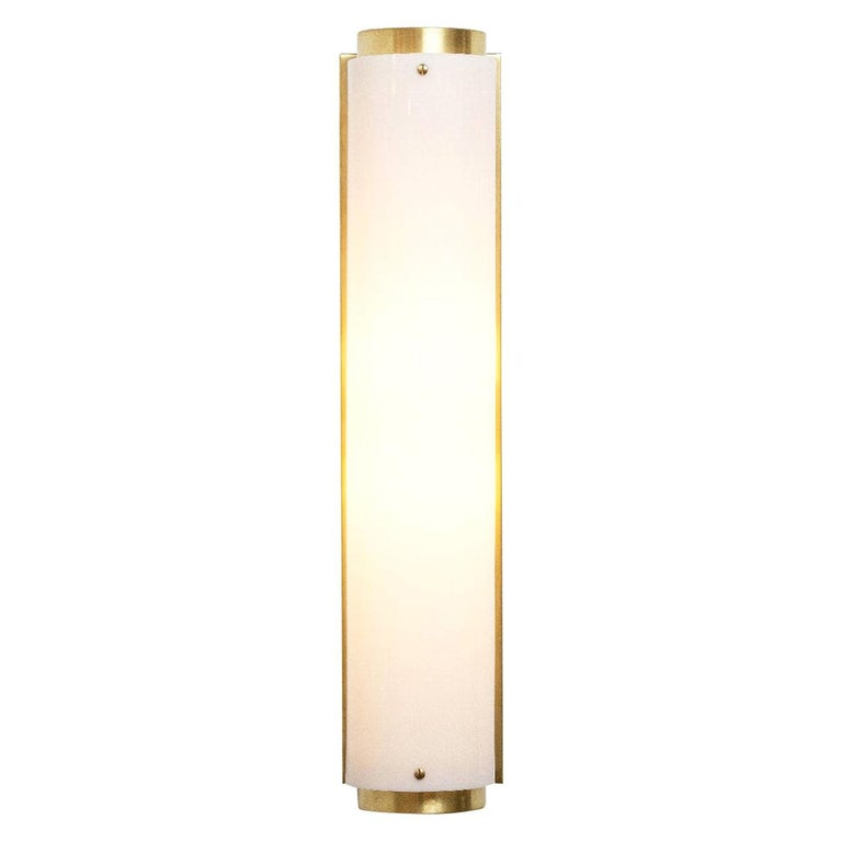 Large Arc Sconce in Brass with White Lucite Shade For Sale