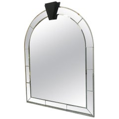 Large Arch Beveled Mirror with Smoked Glass Crown