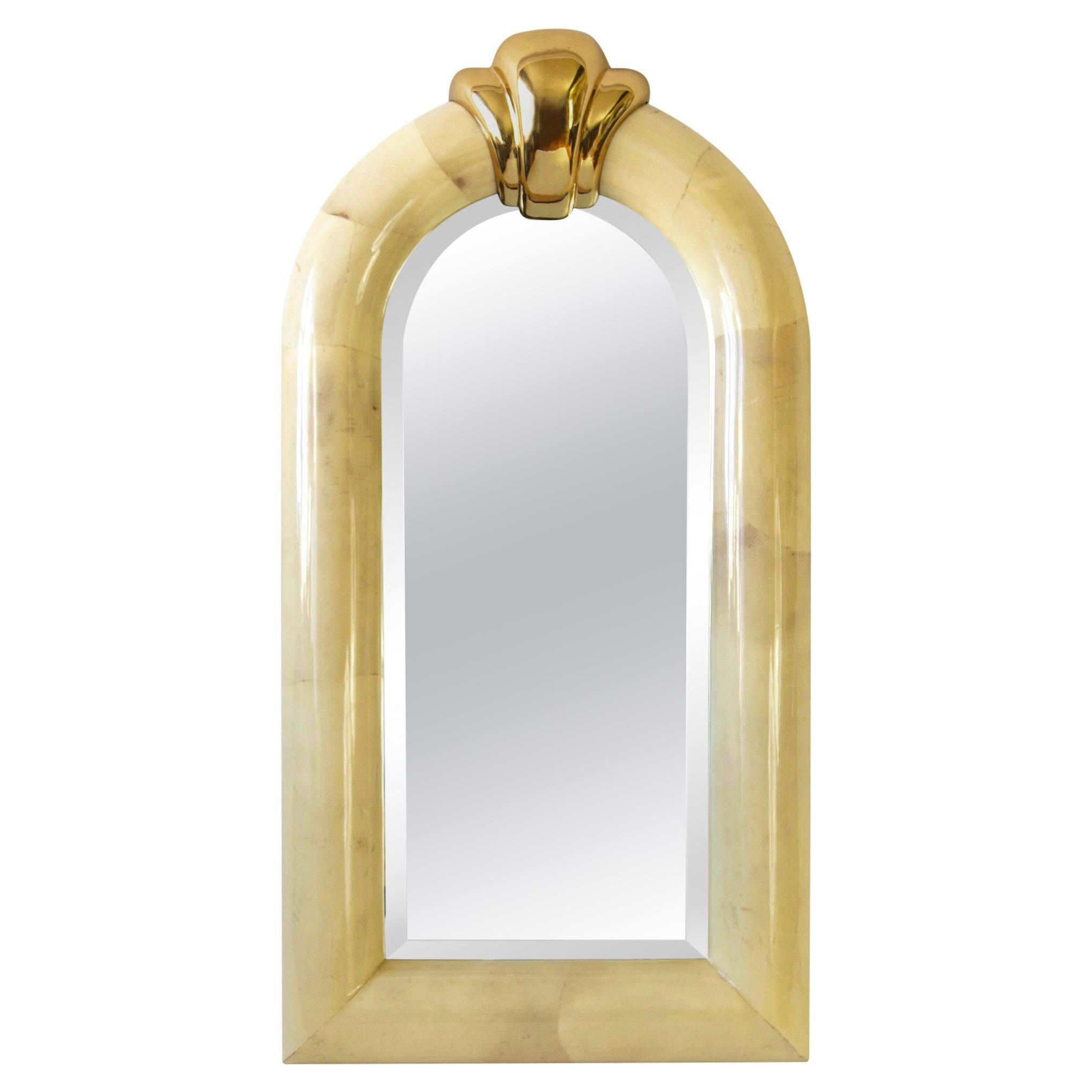 Large Arched Lacquered Goatskin and Brass Mirror