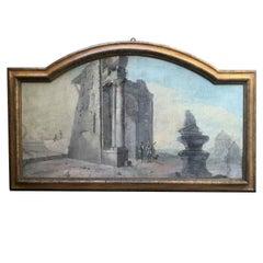 Large Arched Light Blue Landscape 18th Century Italian Capriccio Ruins Figures