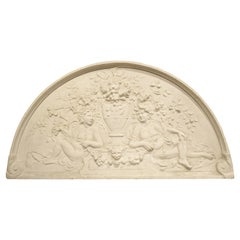 Large Arched Plaster Bas Relief Overdoor from France