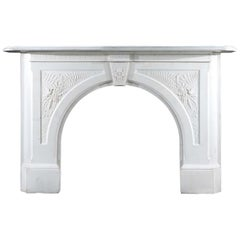 Large Arched Victorian Chimneypiece in White Statuary Marble