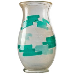 Large Archimede Seguso Murano Glass Vase in Gold and Green from the 1950s