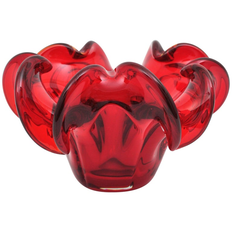 Large hand blown Murano ruby red glass flower centerpiece or bowl. Attributed to Archimede Seguso, Italy, 1950s.