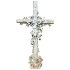 Large Architectural French Cast Iron Cross