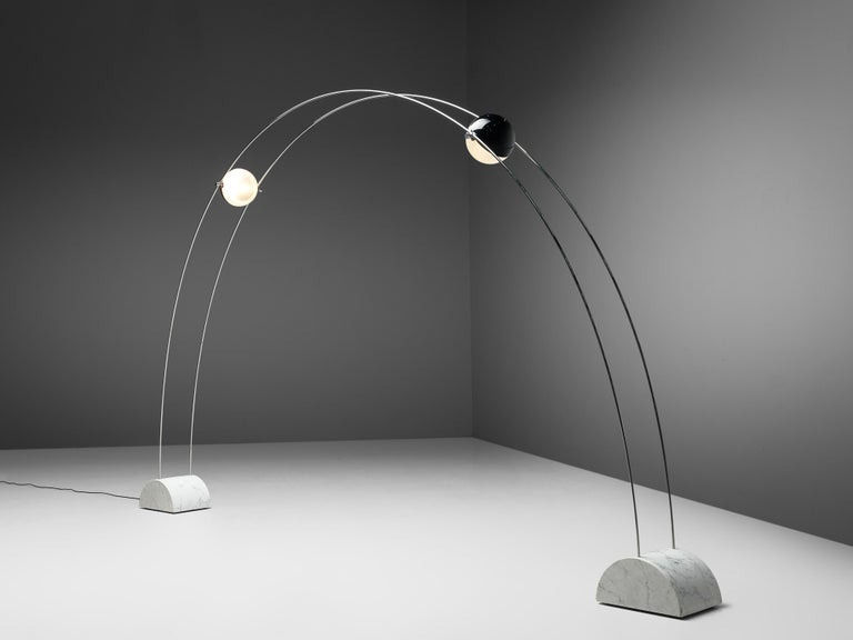 Studio A.R.D.I.T.I. for Sormani, floor lamp model 'Ponte', marble, metal, acrylic, Italy, 1970s  Lighting sculpture by Studio A.R.D.I.T.I. for Sormani. This wonderful artistic floor lamp spans an arch in your room. From two bases in marble two