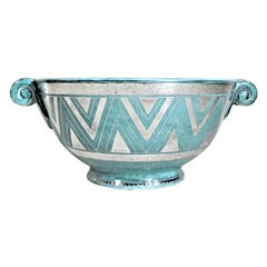 Large Argenta W. Kage for Gustavsberg Art Deco Pottery Bowl with Applied Silver