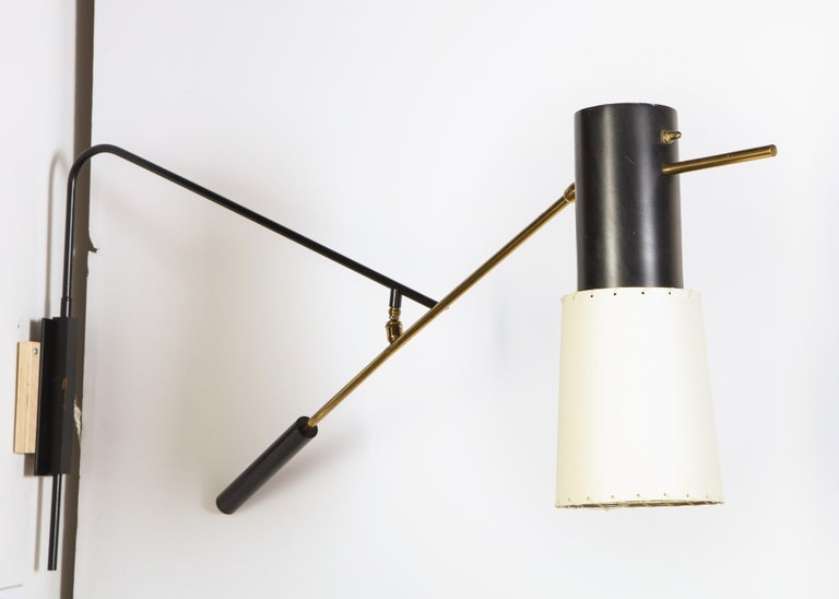 Large enameled metal and brass by Arlus with new shade.