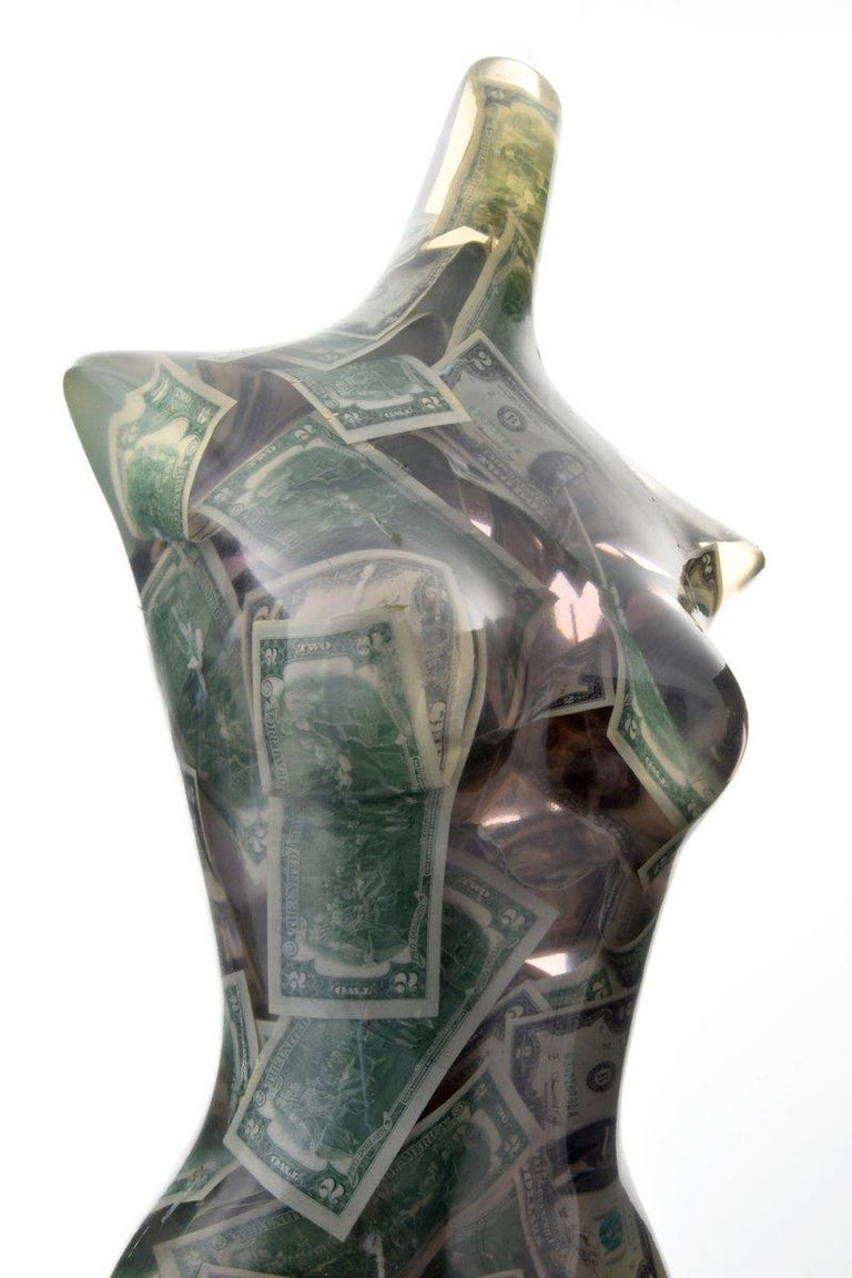 Large Venus with Two Dollar Bills sculpture by Arman (aka Armand Pierre Arman/Armand Fernandez, French 1928-2005). Sale is accompanied by a copy of the receipt issued by Hokin Gallery, Inc., Chicago, Illinois, dated 10.14.1977. Provenance: Hokin