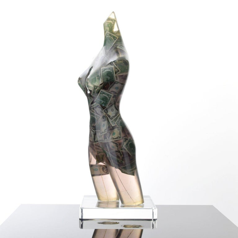 Modern Large Arman Venus with Two Dollar Bills Sculpture, Unique For Sale