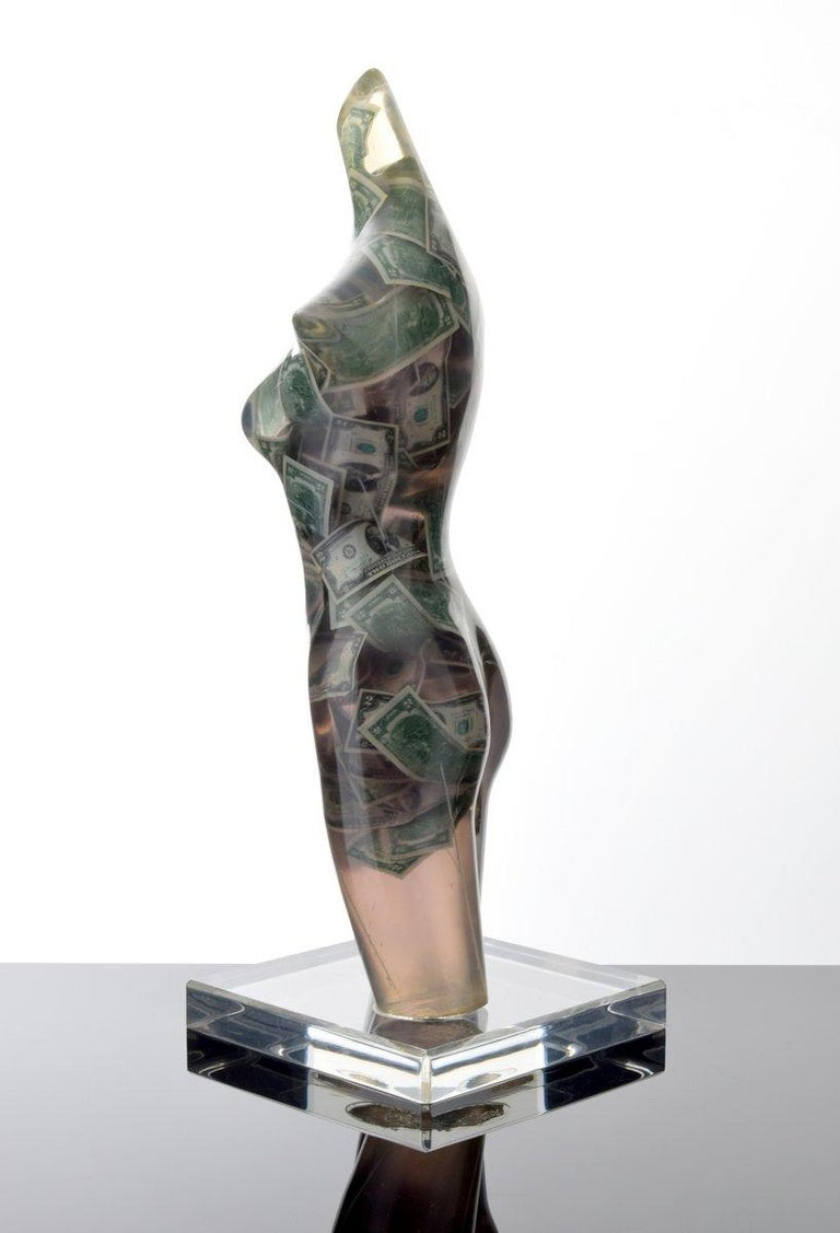 Large Arman Venus with Two Dollar Bills Sculpture, Unique In Good Condition For Sale In West Palm Beach, FL