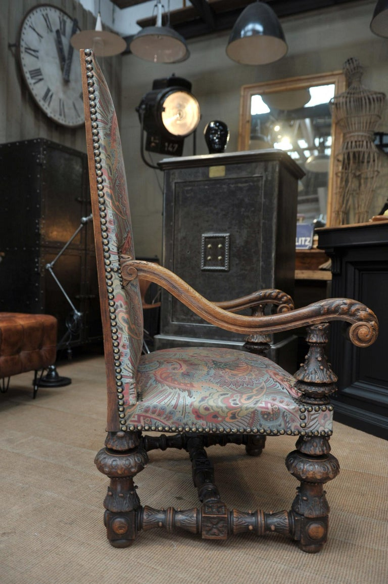 Large Armchair in Solid Oak Newly Reupholstered For Sale 3