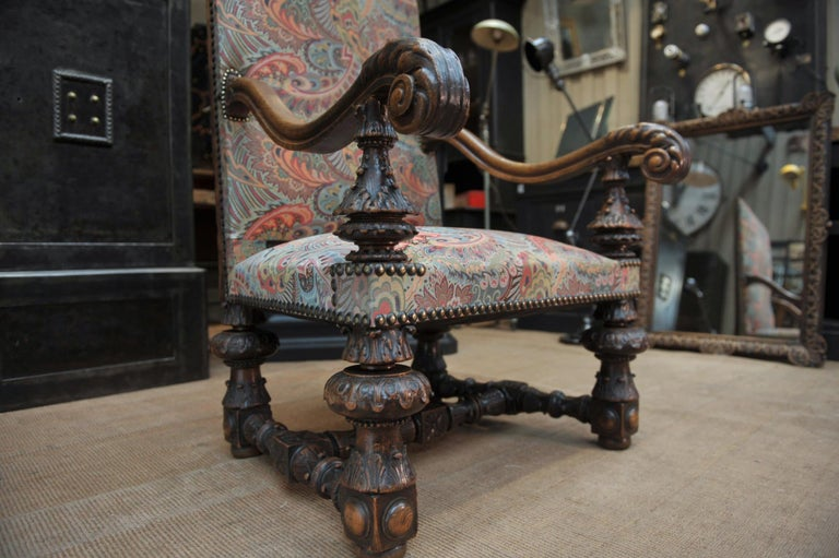 Large Armchair in Solid Oak Newly Reupholstered For Sale 5