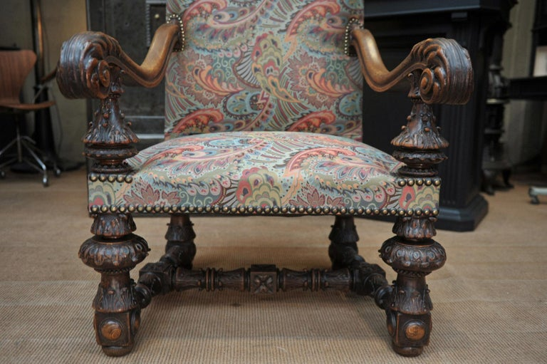 Large Armchair in Solid Oak Newly Reupholstered For Sale 6