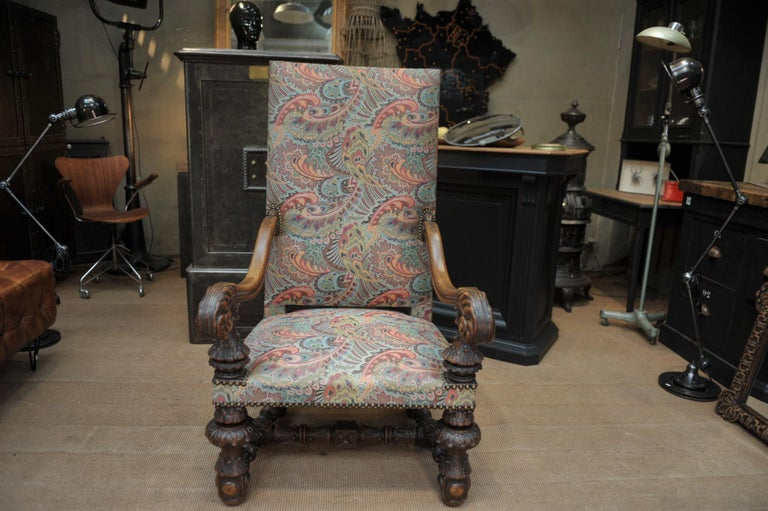Large Armchair in Solid Oak Newly Reupholstered For Sale 8