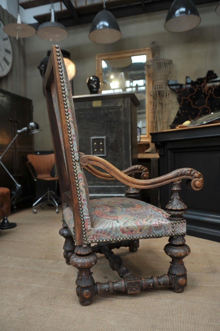 French Large Armchair in Solid Oak Newly Reupholstered For Sale