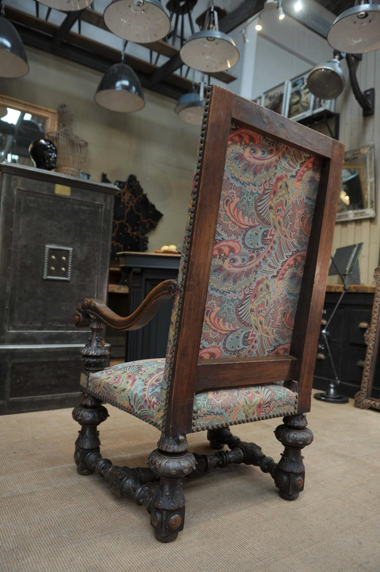 Large Armchair in Solid Oak Newly Reupholstered For Sale 2