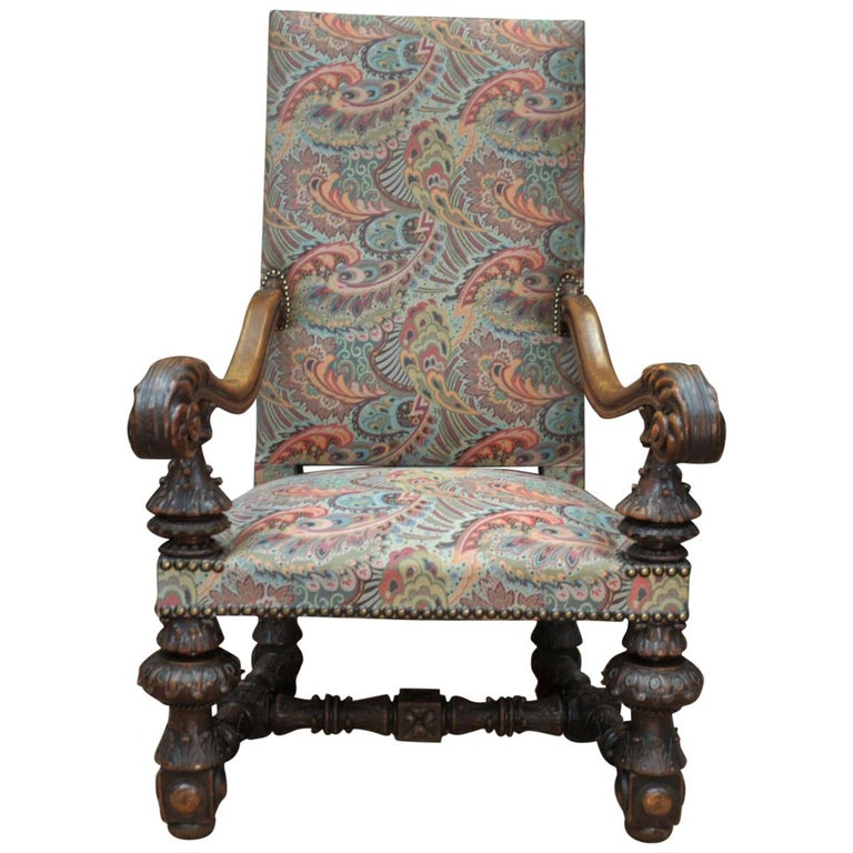 Large Armchair in Solid Oak Newly Reupholstered For Sale