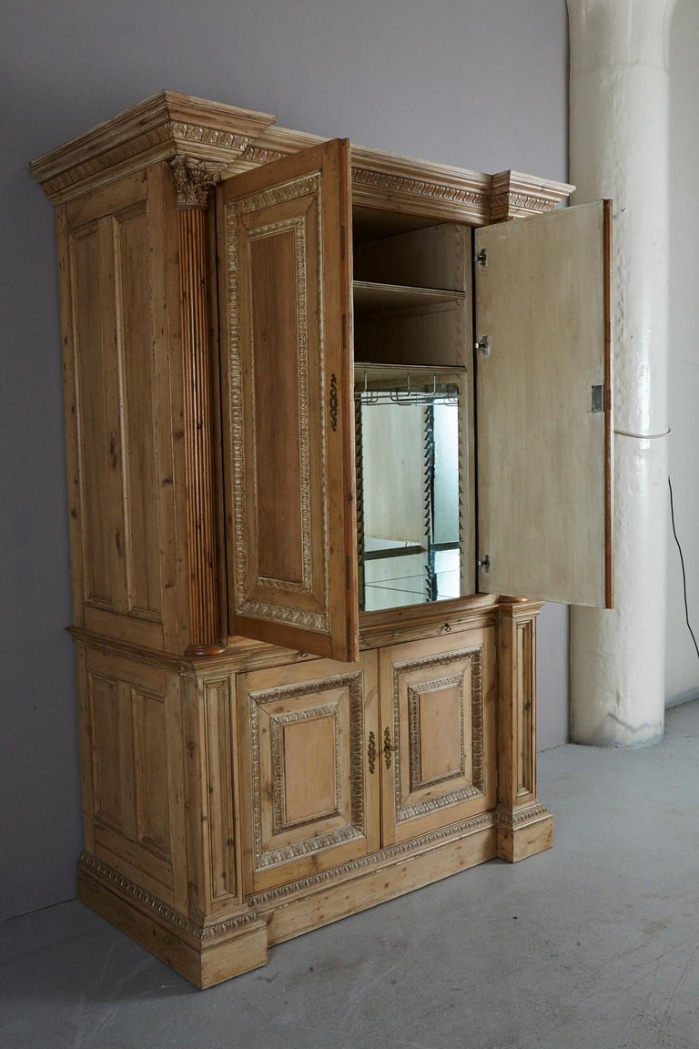 Large Armoire Custom Made From Antique Pine With Mirrored