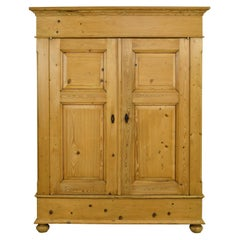 Large Armoire in Pine with Interior Storage Shelves, Northern Germany