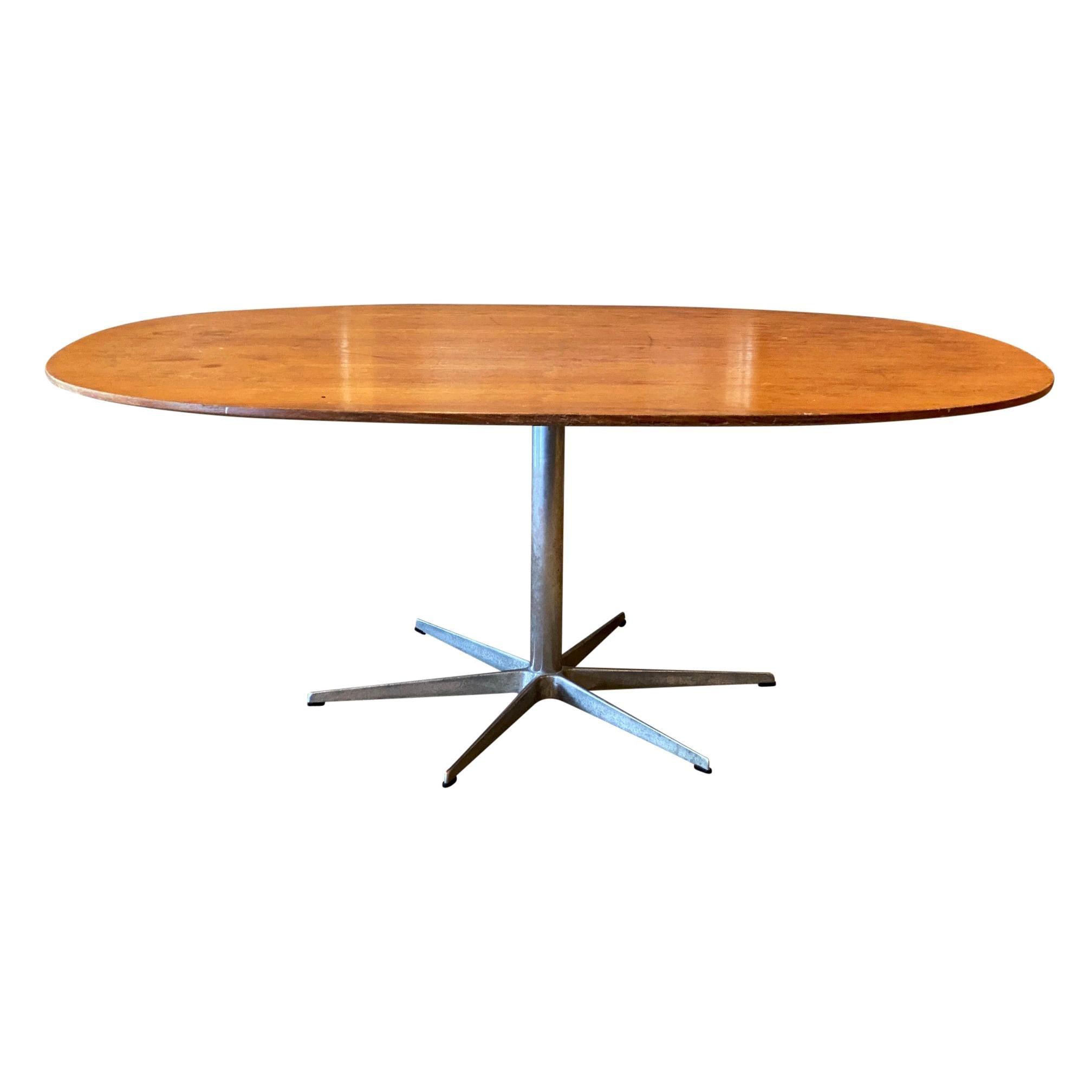 Arne Jacobsen & Piet Hein Wood Dining Table Mid-Century Modern Fritz Hansen