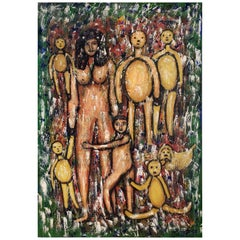 Large Art Brut Outsider Art Painting of Mother and Child by Calogero Etnareff