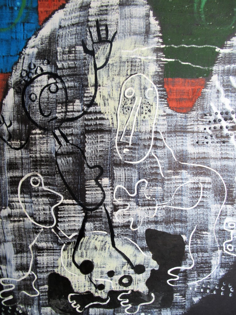 Large Outsider Art Brut Style Painting by Zoute 1944 For Sale 8