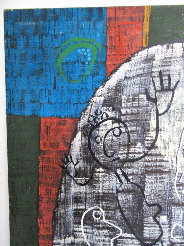 Large Outsider Art Brut Style Painting by Zoute 1944 For Sale 9