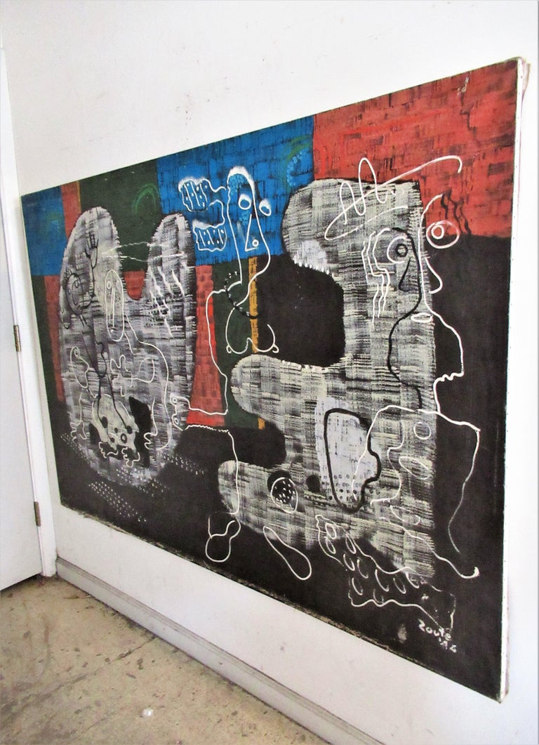 Large Outsider Art Brut Style Painting by Zoute 1944 For Sale 14