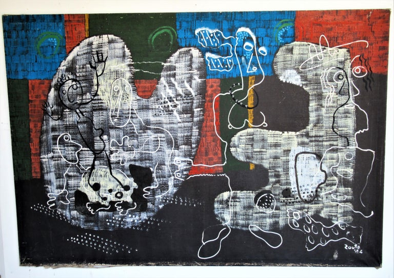 Canvas  Large Outsider Art Brut Style Painting by Zoute 1944 For Sale