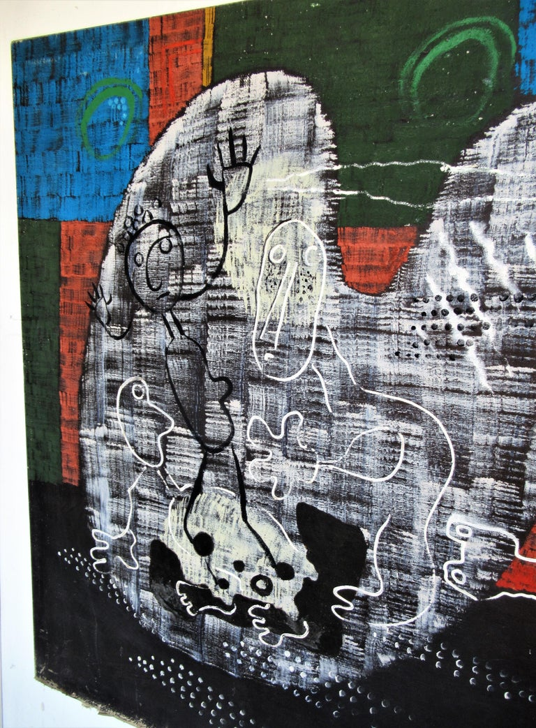 Large Outsider Art Brut Style Painting by Zoute 1944 For Sale 1