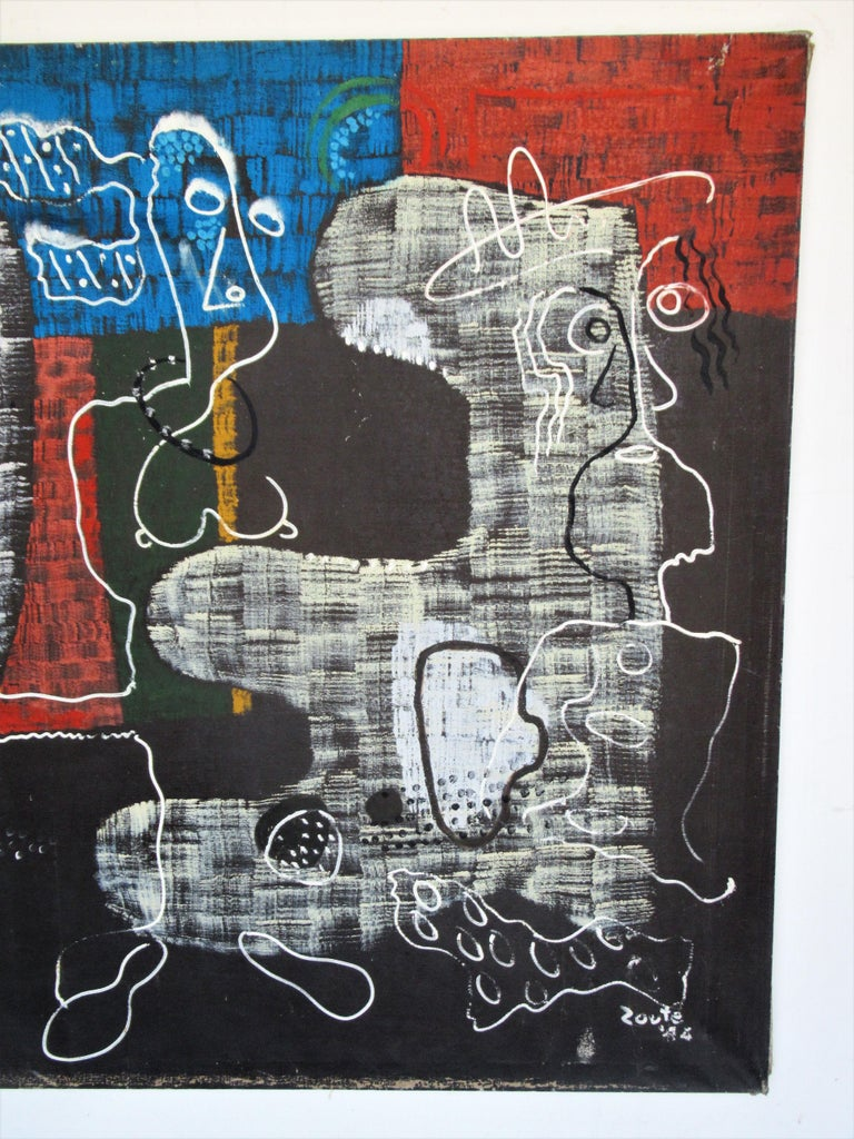 Large Outsider Art Brut Style Painting by Zoute 1944 For Sale 3