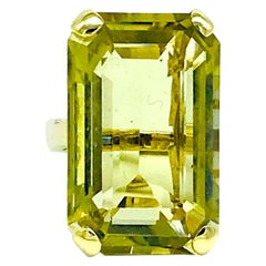 Large, Art Deco 35 Carat, Lemon Quartz Adjustable Ring
