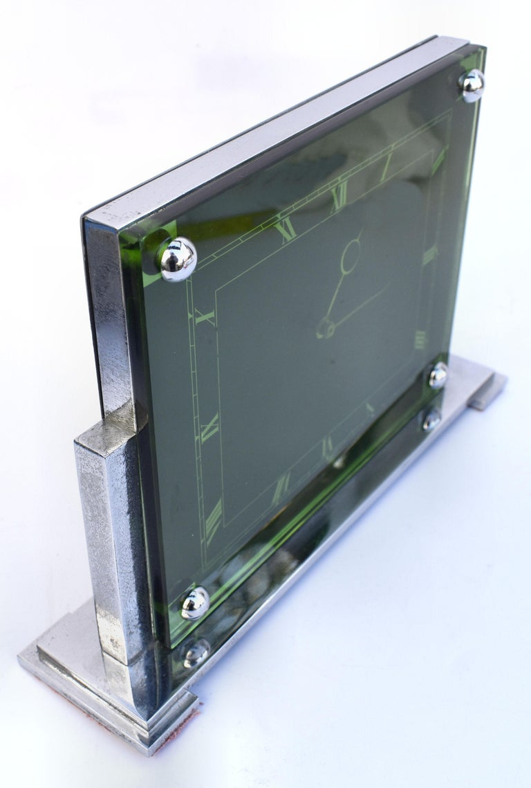English Large Art Deco 8 Day Modernist Green Glass Mantle Clock, c1930 For Sale