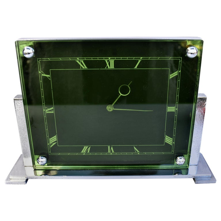 Large Art Deco 8 Day Modernist Green Glass Mantle Clock, c1930 For Sale