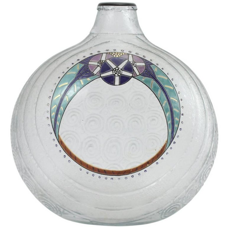 Large Art Deco Acid Etched Glass Vase by Andre Delatte with Hand-Painted Enamel
