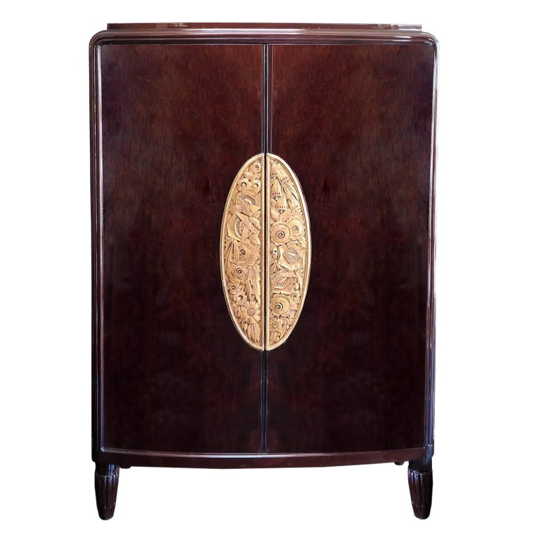 Large Art Deco Armoire in Dark Oak by Louis Majorelle