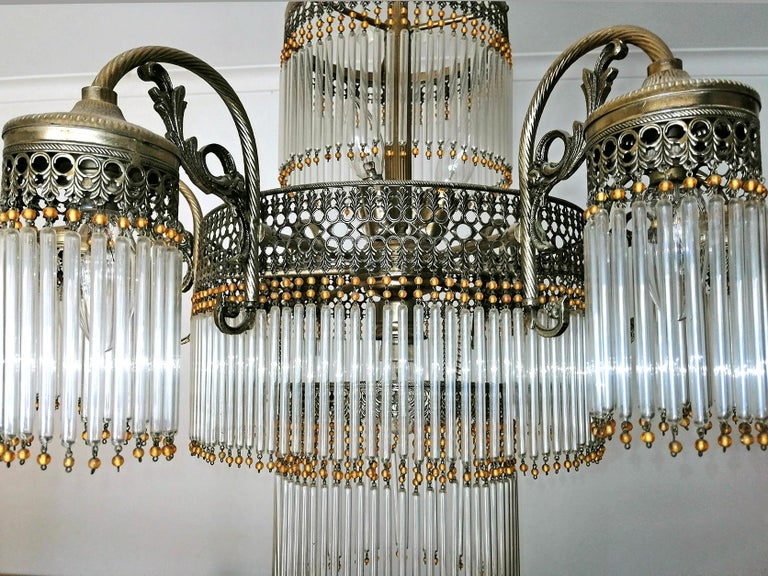 Large Art Deco Art Nouveau Amber Beaded & Clear Glass Straw, 10-Light Chandelier For Sale 4