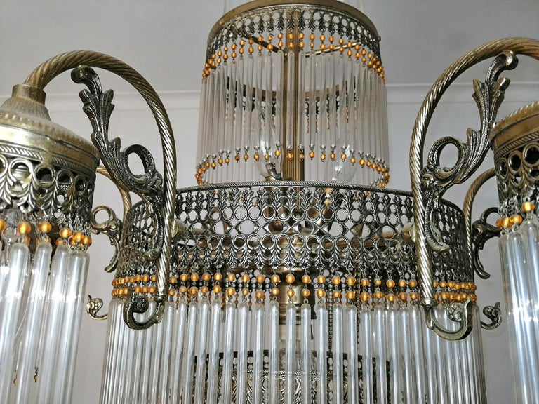 Large Art Deco Art Nouveau Amber Beaded & Clear Glass Straw, 10-Light Chandelier For Sale 5