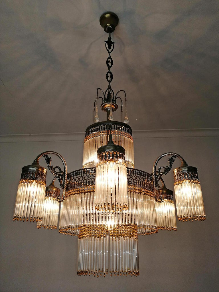 Large Art Deco Art Nouveau Amber Beaded & Clear Glass Straw, 10-Light Chandelier For Sale 7