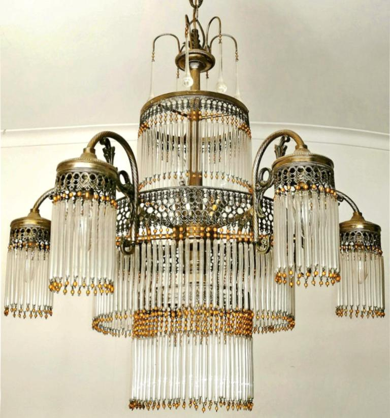French Large Art Deco Art Nouveau Amber Beaded & Clear Glass Straw, 10-Light Chandelier For Sale