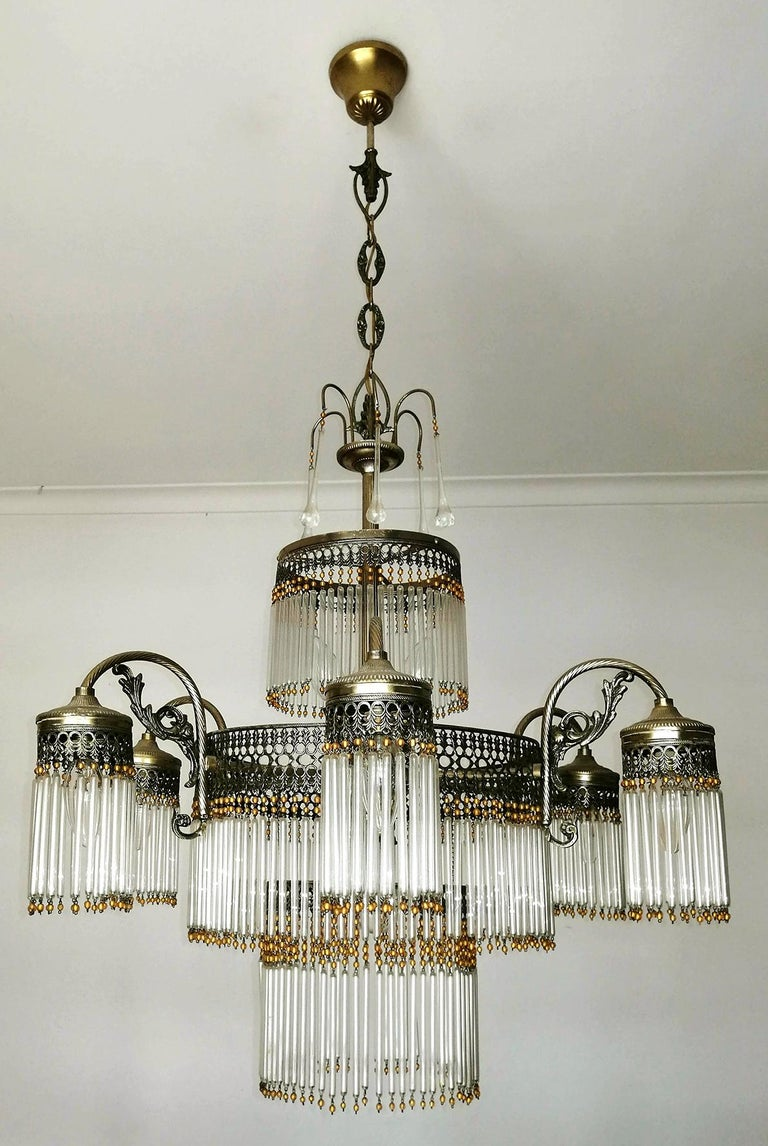 20th Century Large Art Deco Art Nouveau Amber Beaded & Clear Glass Straw, 10-Light Chandelier For Sale