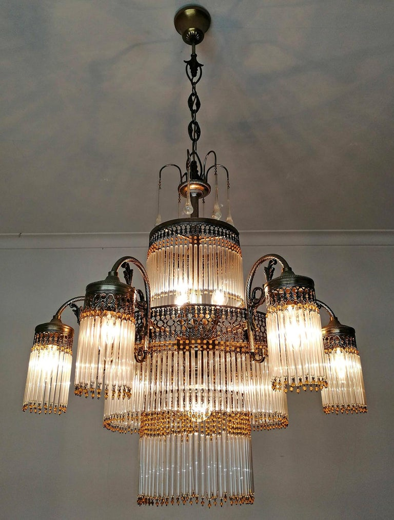 Metal Large Art Deco Art Nouveau Amber Beaded & Clear Glass Straw, 10-Light Chandelier For Sale